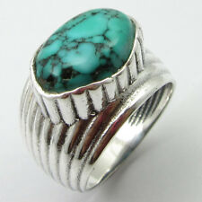Solid Sterling Silver Turquoise HAMMERED Finger Ring Size 6 Wholesale Gift