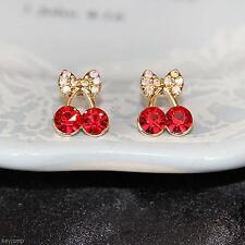 2 Pair Stylish Rhinestone Red Cherry Bowknot Shape Eardrop Ear Stud Earrings