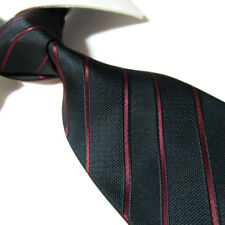 "Extra Long Fashion Tie Mircofibre XL Black/Red Striped Mens Necktie 63"" TPL344"