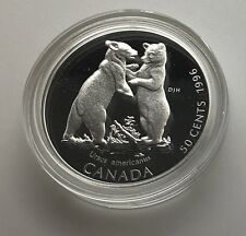 Canada 1996 Black Bear Cubs  50 Cents Proof  Sterling  Silver  Little Wild Ones