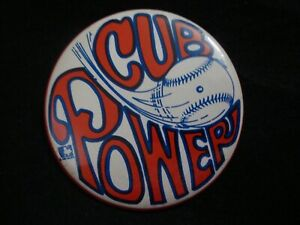 """1969 Chicago Cubs """"Cub Power"""" Pinback Button Pin 3 1/2"""" Diameter - All Sports Co"""