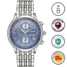 New Citizen Eco-Drive World Time A-T Ladies Watch Silver SS Blue Dial FC5000-51L