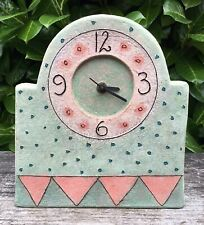 Mint Green & Pink Studio Pottery Mantle Clock Working Signed AT