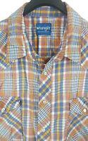 WRANGLER Mens Multi-Color Plaid S/S Western Pearl Snap Cowboy Shirt 3XL