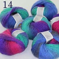 AIP Soft Cashmere Wool Colorful Rainbow Shawl DIY Hand Knitting Yarn 50grx6 14