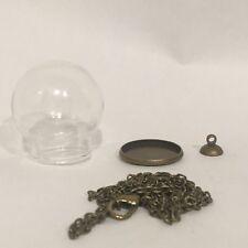 DIY Snowglobe Glass Terrarium Necklace Pendent Kit, Antique Brass/Bronze ONE SET