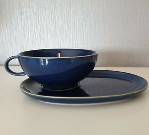 IKEA 18004 Blue Soup Bowl Cup And Sandwich Plate Retired 004