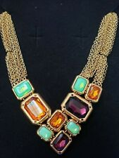 """Multi-Row 18-1/2"""" Necklace Hsn $249 Clb Nyc """"Formation"""" Multi Crystal Goldtone"""