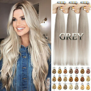 #GREY Stick Tape In Russian Remy Human Hair Extensions Skin Weft Full Head THICK