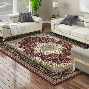 Extra Large Traditional Classic Red Rug Vintage Oriental Carpet Thick Pile Rug