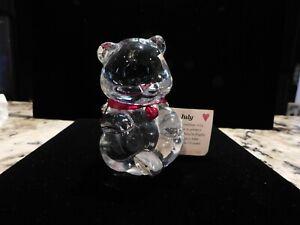 Fenton Glass Teddy Bear Red Heart July Birthday Stone