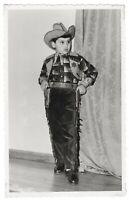 Vintage photo little boy in cowboy costume toy gun costumed children *6705F