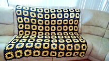 Handmade quilted Sunflower squares Afghan Black and Yellow Bed throw/ Sofa throw
