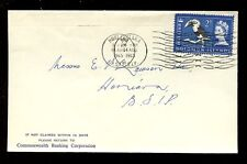 BRITISH SOLOMON Is.1965 BIRD 2d FRANKING COMMONWEALTH BANKING CORP ENVELOPE