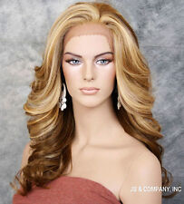 Blonde Mix HEAT SAFE Lace Front wig Roller curls Wavy layered NBY 2216