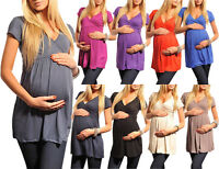 Maternity Top Tunic V neck Pregnancy Clothing Wear Size 8 10 12 14 16 18 5058