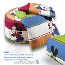 Pouf in Cotone Topolino Mickey Bay Blu-Rosso-Arancio Disney Caleffi Cameretta