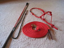THOMEY NATURAL GROUNDWORK HORSE TRAINING SET~ HALTER,LEAD,STICK~HIGH QUALITY~RED