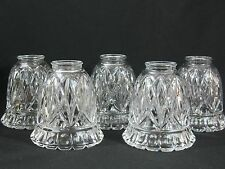 5 Light Shades Royce Crystal Embossed Glass Ceiling Fan Chandelier Wall Sconce