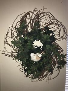 Twig & Ivy Wall/ Door Wreath With Ceramic Bird