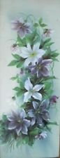 PAIR Still Life Clematis Flowers Lithograph/Olegraph Textured Prints Framd c1910