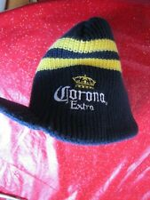 Corona Extra Beer ~ Winter Hat w/ Bill ~ Dark Blue with 2 Yellow Stripes ~ Beer