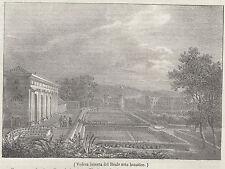 1837 Veduta interna del Reale orto botanico Napoli litografia