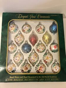 Vintage Commodore Hand Blown Glass Christmas Ornaments Indents Teardrops