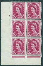 8d Wilding Violet 9.5mm Phos cyl 4 No Dot perf F/L with variety UNMOUNTED MINT