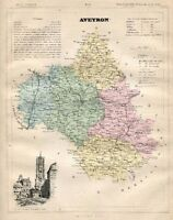 Genuine Original Antique 1877 France Hand Colored Map AVEYRON French Europe