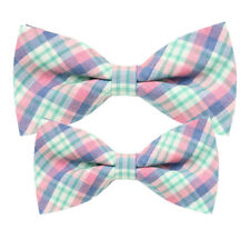 *BRAND NEW* MULTI-COLOR LUXURY CHECKED MENS BOW TIE/&POCKET SQUARE SET B892