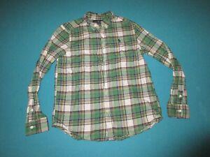 RALPH LAUREN Boys Green Plaid Long Sleeve Button Down Shirt Size Large L 14/16