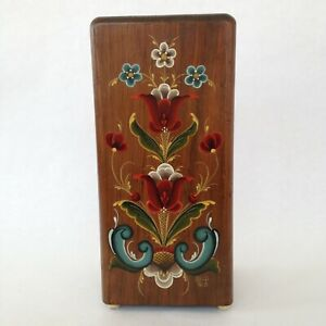 Vintage Folk Art Tole Painted Wood Knife Block 8 Slot Tabletop Flowers Leaves