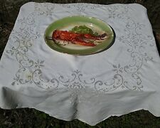 VINTAGE EMBROIDERED FLORAL OPENWORK TABLECLOTH 50''X50''