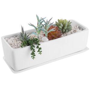 14-Inch Rectangular Ceramic Succulent Planter Pot, Window Box, Matte White