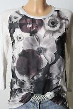 ZARA Shirt Gr. S creme-weiß-grau 3/4-Arm Blusen Shirt mit Blumen