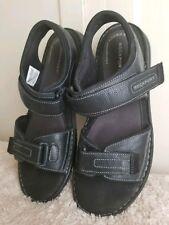 Rockport Mens Darwyn Quarter Strap Platform Slide Sandal Black Leather Size 11.5