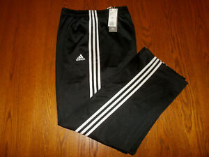 NWT ADIDAS BLACK W/WHITE STRIPES RECYCLED POLYESTER ATHLETIC PANTS MENS 4XL