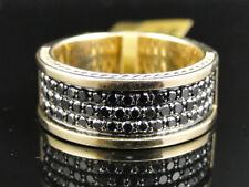 Mens Yellow Gold Round Cut Black Diamond Pave Designer Band Ring 1.40 Ct
