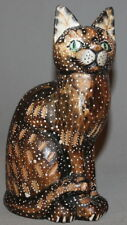VINTAGE HAND CARVING PAINTED WOOD CAT STATUETTE