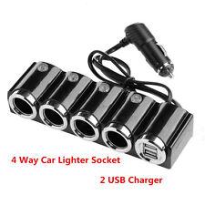 Portable 4 Way Car Cigarette Lighter Socket Splitter DC 12-24V + USB+ LED Switch