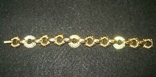 Swarovski Signed Vintage Bracelet Gold Tone Circles Clear Crystals 7.5 in. 807