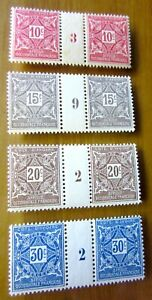 EBS French Ivory Coast 1915 Postage Dues MNH** gutter pairs - interpanneaux (422