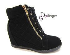Womens Fashion Hidden Heel Sneaker Shoe Bootie High Top Lace Up Platform Wedge