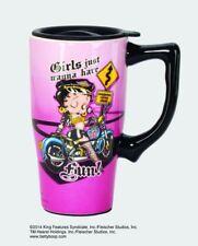 Betty Boop Biker Ceramic Coffee Travel Mug, Plastic Lid, NIB [12032] Spoontiques