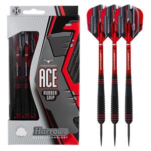 Harrows Ace Steel Tip Darts - Unique Non Slip Rubber - 20g 22g 24g or 26g