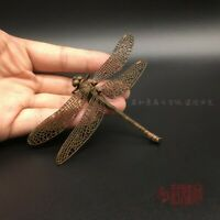 Collectible Tea Pet Pure Solid Copper Dragonfly Handwork Statue Foldable wings