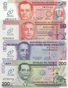 Philippines 4 Note Set: 20 to 200 Piso (2009) - p200 to p203 Commemorative UNC