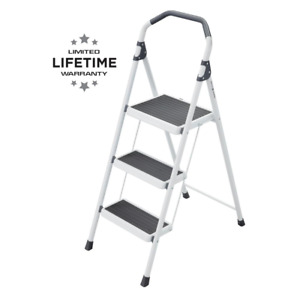 Foldable Three Step Stool Ladder 225 Lbs Load Capacity Lightweight Steel Gorilla
