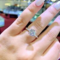 Round Cut 2.25 Ct Real Diamond Womens Engagement Ring Solid 14K Gold Size 8